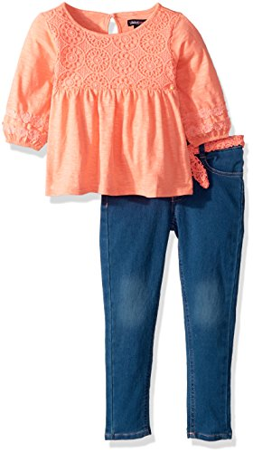 - Limited Too Little Girls' Fashion Top and Pant Set, Peachy Lace Yoke Medium Blue Denim, 5