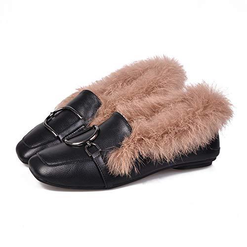 DANDANJIE Zapatos De Las Mujeres Otoño De Invierno Comodidad Mocasines Y Slip-Ons De Tacón Bajo para Casual a