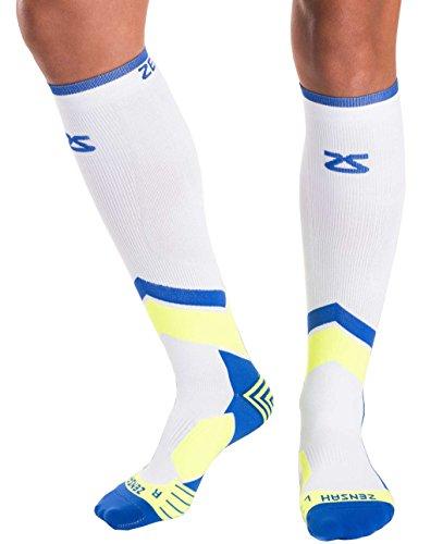 Zensah Pop Tech+ Compression Graduated Compression Socks, Aqua/Yellow/Purple, Medium