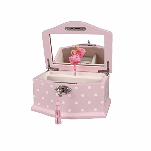 Art Lins Elle Ballerina Music Jewelry Box with Lock, Small, Wooden Case, Pink Dot