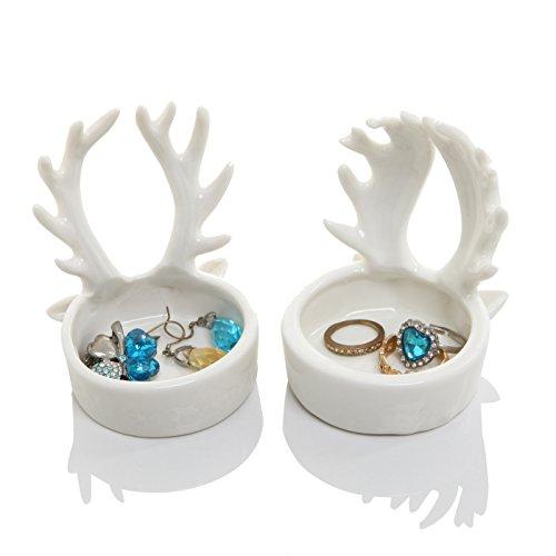 Set of 2 Ceramic Deer Antler Jewelry Ring Holder / Decorations Candle Holder , White - Reindeer Ring Holder