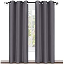 NICETOWN Gray Curtain Blackout Drape Panel Three Pass Microfiber Noise Reducing Thermal Insulated Window Drapery Grommet (Single Panel, 42 x 84 inch, Grey)