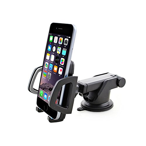 Price comparison product image Sun Schnee Cell Phone Holder Windshield Car Mount - Universal Dashboard Cell Phone Cradle for iPhone7, 7Plus, 6, 6Plus, 6s, 5s, 5c, Samsung Galaxy S7 and Other Smartphones Black&Grey