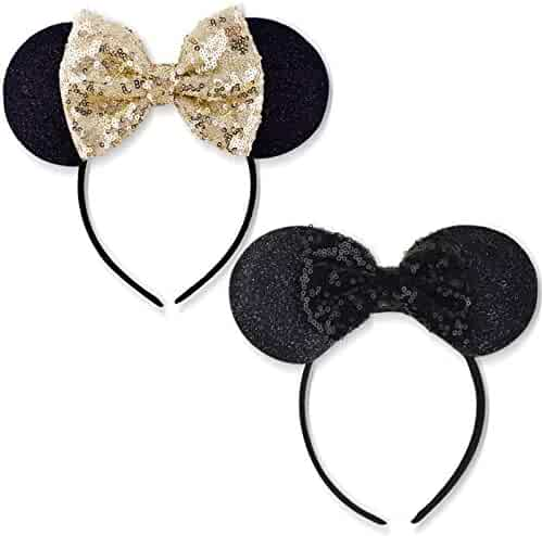 cca65a290a37e5 DRESHOW Mickey Ears Headbands Sequin Hair Band Accessories for Women Girls  Cosplay Party