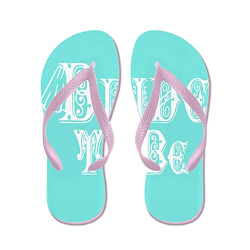 CafePress Bride To Be With Veil, Fancy White Type Teal Flip - Flip Flops, Funny Thong Sandals, Beach Sandals Pink