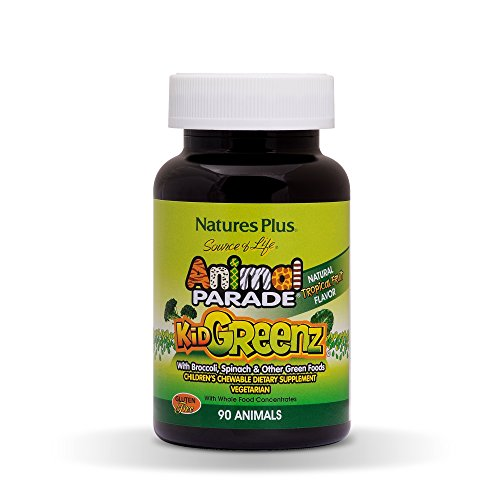 NaturesPlus Animal Parade Source of Life KidGreenz Children's Chewable - Tropical Fruit Flavor - 90 Animal Shaped Tablets - Vegetarian, Gluten-Free - 90 Servings