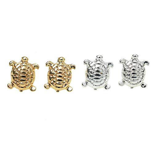 Monrocco 2 Pairs Gold & Sliver Newfashioned Cute Animals Tiny Turtle Earring for Women Girls