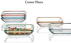 Walter Glas Set of 4 Square Glass Platter or Serving Dish or Serving Tray with Red Rim for Sushi, Salads, Appetizers, Pasta, Fruit, and Vegetables, Made in Germany 8 x 8 x 2 inches