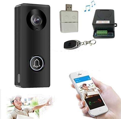 WiFiビデオドアベルカメラ、HDビデオ、広角、モーションセンサー、双方向通話、ナイトビジョン スマートワイヤレスHDビデオモニター,黒