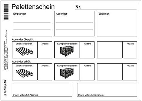 10er Pack Palettenschein Lademittelnachweis DIN A5 quer Block mit 50 Satz 2-fach