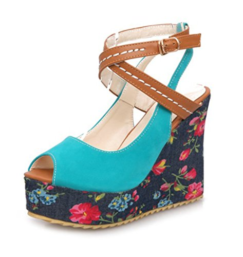 Easemax Women's Trendy Faux Suede Stitching Flower Print Peep Toe Buckle Straps Platform High Wedge Heel Slingback Sandals Blue 10 B(M) (Floral Print Wedge)