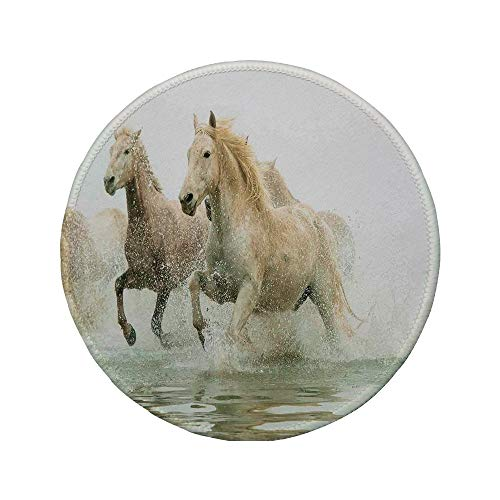 "Non-Slip Rubber Round Mouse Pad,Animal Decor,Camargue Horses in The Water Ancient Oldest Breed in Southern France Origin Artful Photo,White Beige,11.8""x11.8""x5MM"