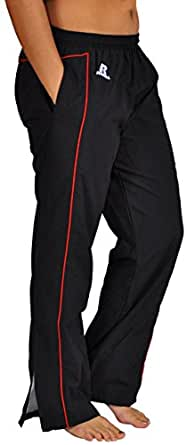 Russell Athletic Womens Warmup Mesh lined Running, Jogging, Windbreakers Gym/Track Pant, Black/Red,S