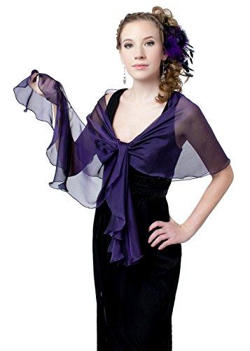 Purple-Black Evening Wedding Silk Chiffon Fluttering Scarf Wrap Shawl by Lena Moro