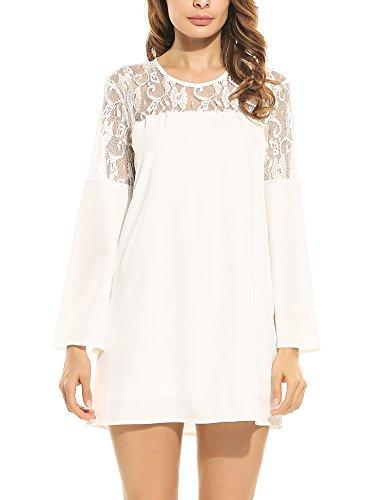 Beyove Women's Long Sleeve Keyhole Back Lace Shift Dress White M (White Keyhole Shift Dress)