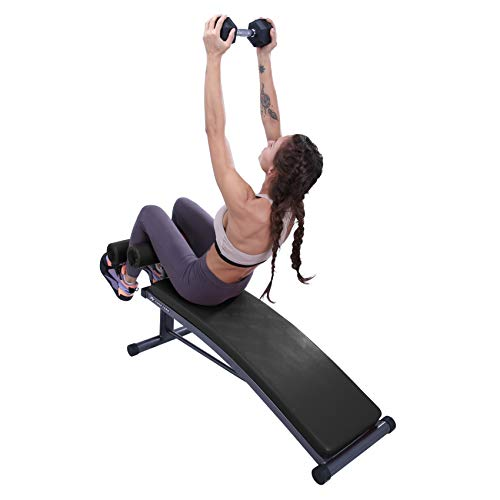 Finer Form Sit Up Bench with Reverse Crunch Handle for Ab Exercises, Black