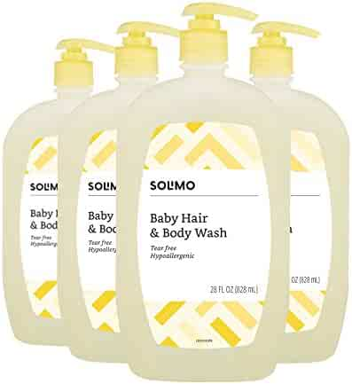 Amazon Brand - Solimo Tear-Free Baby Hair and Body Wash, 28 Fluid Ounce (Pack of 4)