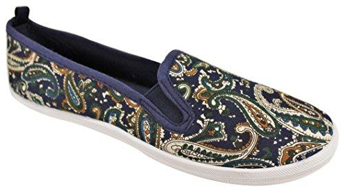 Take A Walk in Womens Fashion Canvas Slip-On Shoe (10, Navy Paisley)