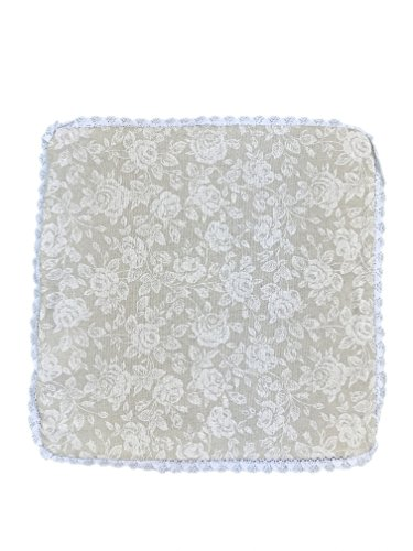 Pillow Rose Lace (Provence Cotton Throw Pillow Sham With Lace in French Country Style, 16'' x 16'', White Rose)