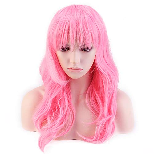 Hallowee Anime Cosplay Synthetic Wig 11 Colors Japanese Heat Resistant Fiber Full Wig with Bangs Long Layered Curly Wavy Trendy 23'' / 58cm for Women Girls Lady Fashion and Beauty (pink)