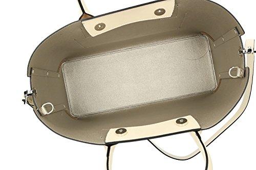 Borsa donna a mano con tracolla PIERRE CARDIN beige pelle Made in Italy VN1301