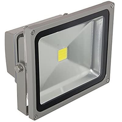 Sunlite LEDF/30W/W LED Security Floodlight HPS HID Replacement Wall Mounted Fixture Outdoor, White 5000K Gray Finish