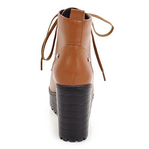 Yellow Brown TAOFFEN Chunky Fashion Bootie Boots 613 Ankle Women Heels High zRvqfzw