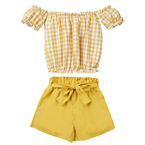- Kids Baby Girls Outfits Floral Ruffle Off Shoulder Crop Tops + Bowknot Denim Shorts Skirt Set Toddler Summer Clothes (Orange Plaid, 2-3 Years)