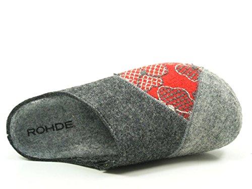Rohde 6022 Riesa-40 Scarpe Da Donna Pantofole Pantofole Feltro Largo G, Misura Della Scarpa: 41; Colore: Grigio