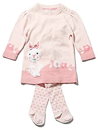 7a81f6879fa9 M Co Baby Girl Pink Long Sleeve Knitted Bunny Design Jumper Dress ...
