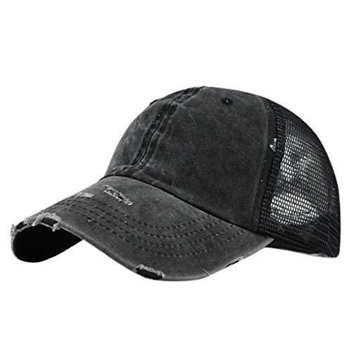 Unisex Baseball Visor Cap - Ponytail Messy Buns Trucker Plain Men Women Hat Adjustable Saturday -