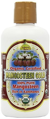 (Dynamic Health 100 Percent Pure Organic Mangosteen Gold Mangosteen Juice 32oz / 946ml (Pack of 4) by Dynamic Health)