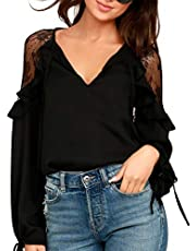 Blooming Jelly Womens Lace Top Chiffon Blouse Long Sleeve Tie V Neck Keyhole Ruffle Flowy Shirt