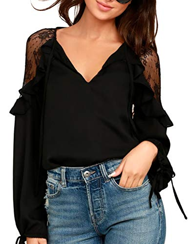 Blooming Jelly Womens Lace Top Chiffon Blouse Long Sleeve Tie V Neck Keyhole Ruffle Flowy Shirt(S,Black)