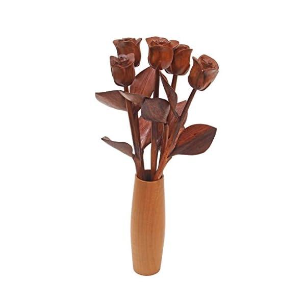 JustPaperRoses Hand Carved 5 Wood Roses in Vase, 5th Wedding or Valentines Day Present.