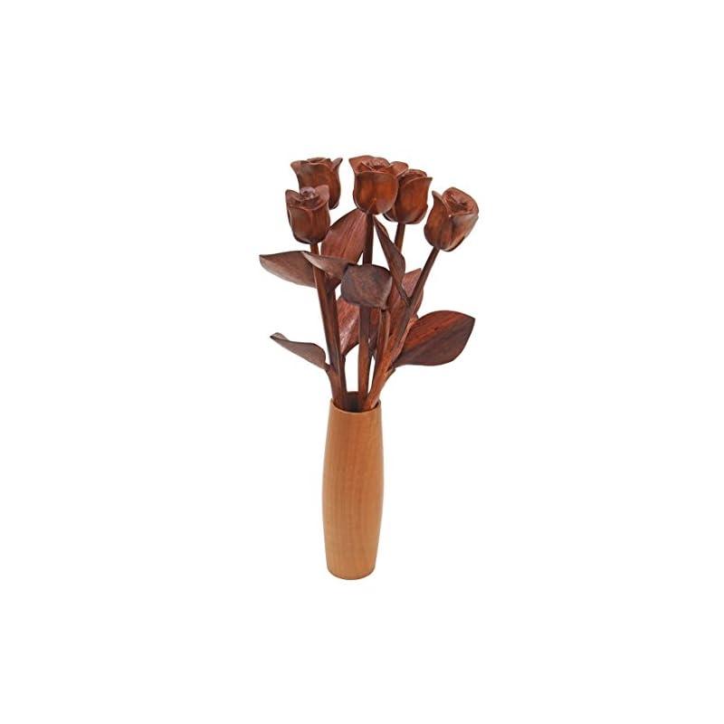 silk flower arrangements justpaperroses hand carved 5 wood roses in vase, 5th wedding or valentines day present.