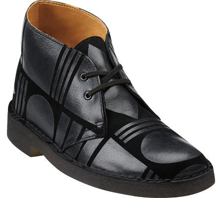 Clarks Womens Desert Boot Pattern In Pelle Scamosciata Nera / Stampa Nera