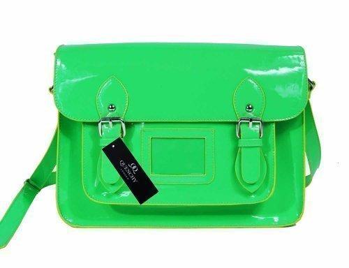 Ladies Womens Satchel Patent Pvc Leather Cross Body Bag Classic Retro Bags  Bright NEON Q421 ( 031c25f857e9
