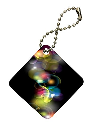 Smoke Vape Colored Bubbles Inspirational Vector Printed Design Diamond Keychain by Smarter Designs
