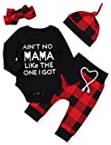 Newborn Baby Boy Girl Clothes Long Sleeve Romper Top,Plaid Pants+ Cute Hat 4Pcs Clothes Outfits Set(0-3 Months)