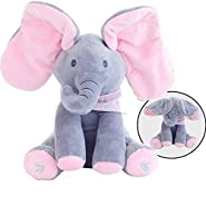 MLSH Cute Musical Baby Toys Animated Flappy Elephant Plush Toy Peek A Boo Animal Doll Plush Stuffed Toys for Baby Birthday Gift Pink Adjust Volume