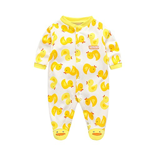 AIKSSOO Infant Baby Boy Girl Outfit Footie Long Sleeve Cotton Romper Sleep Play Size 59(0-3M) (Yellow Duckling)