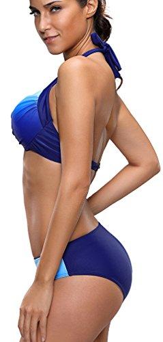 Bettydom Mujer Color Gradiente Elegante Triángulo Bikini de Moda Traje de baño halter Tankini Set Azul
