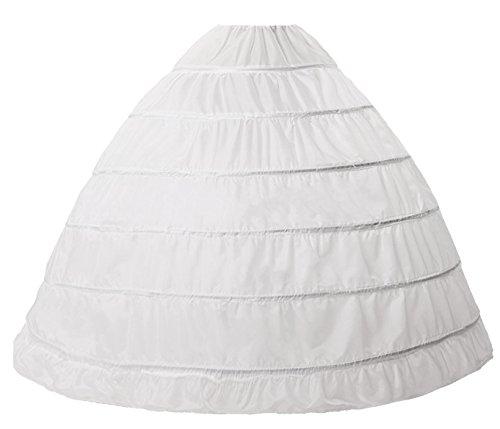 (Beauty-Emily Petticoat Six Hoops Underskirt Drawstring Ball Crinoline Wedding Skirt Gowns White)