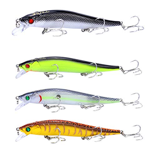 RUNCL Anchor Box - Slow Sinking Minnows SSM137, Wobbler Fishing Lures, Stick Baits, Hard Fishing Lures (Pack of 4)