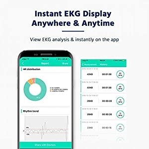 ECG Monitor, Handheld ECG Heart Rate Monitors for Smart Phone, Wireless Heart Rhythm Tracking Without ECG Electrodes Required, Home Use SnapECG Portable EKG Devices for iPhone & Android