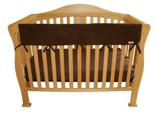 """Trend Lab Fleece CribWrap Rail Cover for Long Rail, Brown, Wide for Crib Rails Measuring up to 18"""" Around!"""