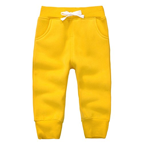 (CuteOn Unisex Kids Cotton Pants Drawstring Elastic Sweatpants Winter Trousers Yellow 5Years)
