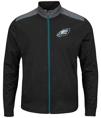 Philadelphia Eagles NFL Mens Majestic Therma Base Tech Team Full Zip Track Jacket Black Big Sizes (Therma Fleece Full Zip Jacket)