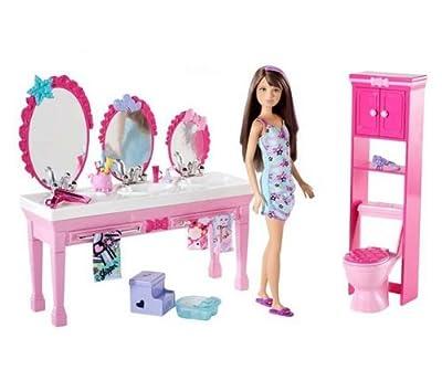 Barbie Sisters Beauty Fun Bathroom And Skipper Doll Set by Mattel